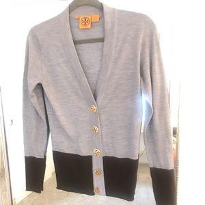 Tory Burch Classic Grey & Brown Cardigan